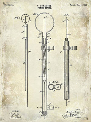 1896 Fishing Device Patent Drawing Print by Jon Neidert
