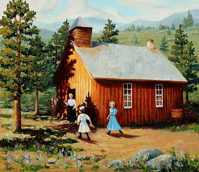 One Room School Painting - 1896 School House by Mary Giacomini