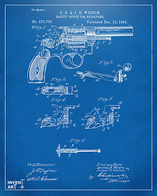 1896 Wesson Safety Device Revolver Patent Artwork - Blueprint Print by Nikki Marie Smith