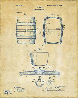 Liquor Digital Art - 1898 Beer Keg Patent Artwork - Vintage by Nikki Marie Smith