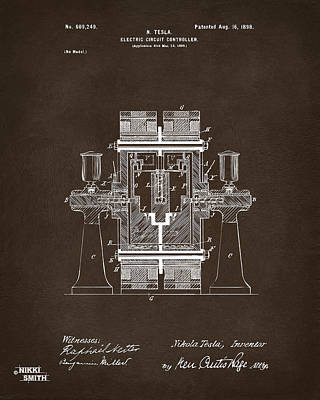 1898 Tesla Electric Circuit Patent Artwork Espresso Print by Nikki Marie Smith