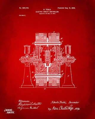 1898 Tesla Electric Circuit Patent Artwork - Red Print by Nikki Marie Smith