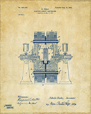 1898 Tesla Electric Circuit Patent Artwork - Vintage Print by Nikki Marie Smith