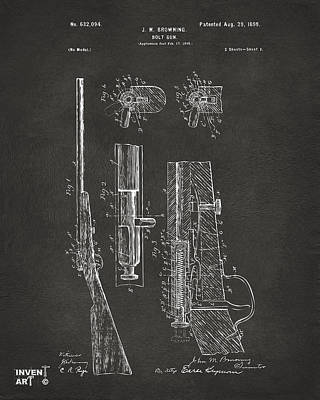 Hunters Drawing - 1899 Browning Bolt Gun Patent Gray by Nikki Marie Smith