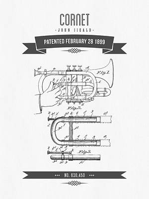 Trumpet Mixed Media - 1899 Cornet Patent Drawing by Aged Pixel