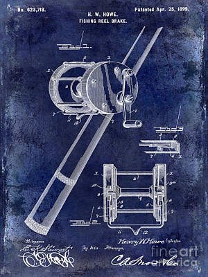 1899 Fishing Reel Brake Patent Drawing Blue Print by Jon Neidert