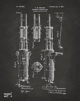 Cave Digital Art - 1899 Garland Automatic Machine Gun Patent Artwork - Gray by Nikki Marie Smith
