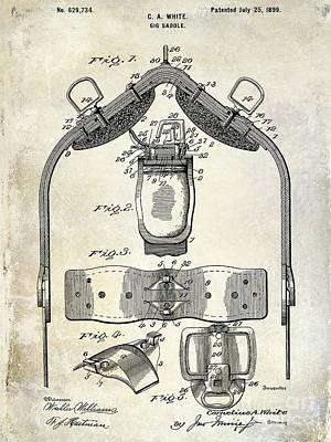 Horses Drawing - 1899 Gig Saddle Patent Drawing by Jon Neidert