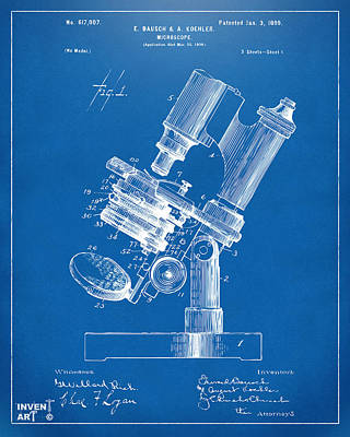 Scientist Digital Art - 1899 Microscope Patent Blueprint by Nikki Marie Smith