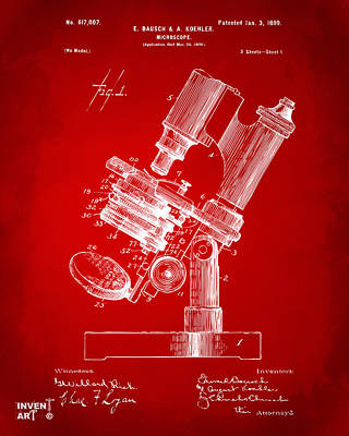 Scientist Digital Art - 1899 Microscope Patent Red by Nikki Marie Smith