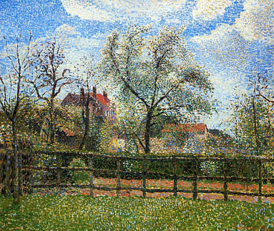 Pear Tress In Bloom Print by Camille Pissarro