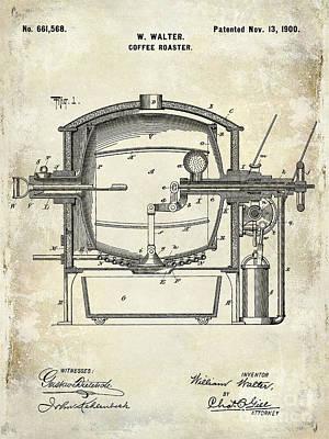 1900 Photograph - 1900 Coffee Roaster Patent Drawing  by Jon Neidert