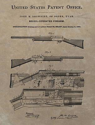 1900 Firearm Patent  Print by Dan Sproul