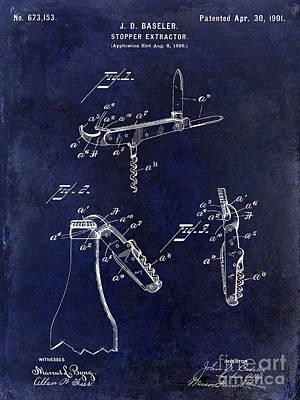 Winery Photograph - 1901 Corkscrew Patent Drawing Blue by Jon Neidert