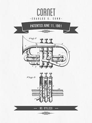Trumpet Mixed Media - 1901 Cornet Patent Drawing by Aged Pixel
