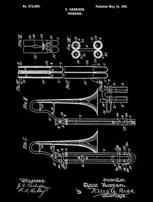 Trombone Mixed Media - 1901 Trombone Patent by Dan Sproul