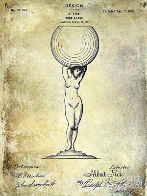 1901 Wine Glass Design Patent Print by Jon Neidert