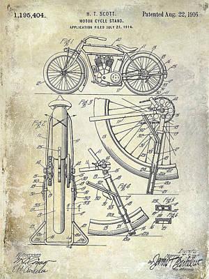 Harley Davidson Photograph - 1916 Motorcycle Patent Drawing by Jon Neidert
