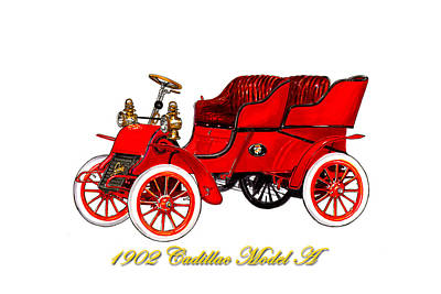 Horseless Carriages Painting - 1902 Cadillac Model A Runabout by Jack Pumphrey