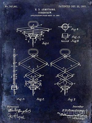 1902 Corkscrew Patent Blue  Print by Jon Neidert