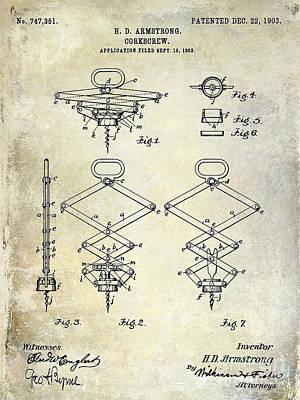 1902 Corkscrew Patent Print by Jon Neidert
