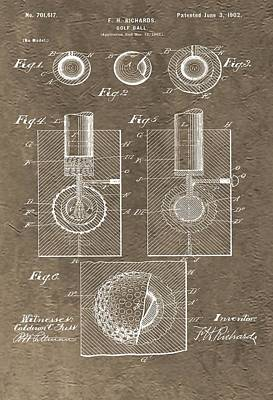 1902 Golf Ball Patent Print by Dan Sproul