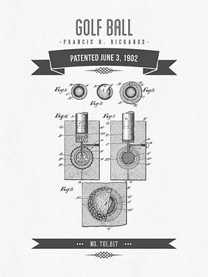 1902 Golf Ball Patent Drawing - Retro Gray Print by Aged Pixel