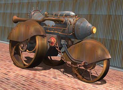 Prototype Digital Art - 1902 Steam Trike by Stuart Swartz