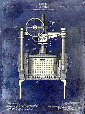 1902 Wine Press Patent Drawing 2 Tone Blue Print by Jon Neidert