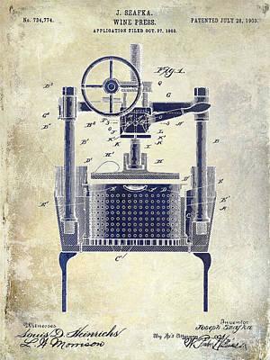 1902 Wine Press Patent Drawing 2 Tone Print by Jon Neidert