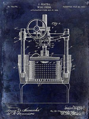 1902 Wine Press Patent Drawing Blue Print by Jon Neidert