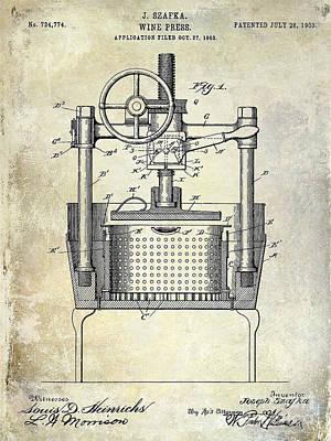 1902 Wine Press Patent Drawing Print by Jon Neidert