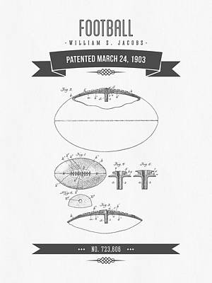 1903 Football Patent Drawing - Retro Gray Print by Aged Pixel