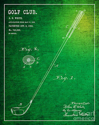 Collectible Sports Art Drawing - 1903 Golf Club Patent Art Rollin H. White 1 by Nishanth Gopinathan