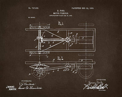 1903 Henry Ford Model T Patent Espresso Print by Nikki Marie Smith