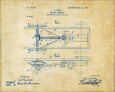 Ford Model T Car Drawing - 1903 Henry Ford Model T Patent Vintage by Nikki Marie Smith