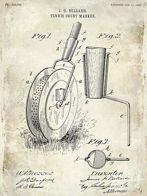 Tennis Photograph - 1903 Tennis Court Marker Patent Drawing by Jon Neidert