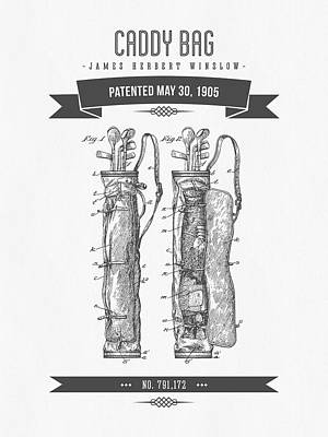 1905 Caddy Bag Patent Drawing - Retro Gray Print by Aged Pixel