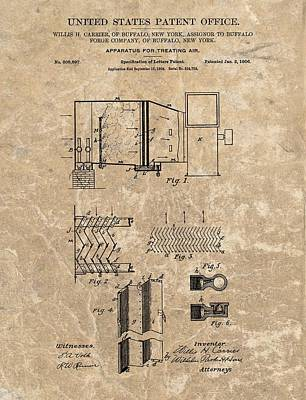 1906 Air Conditioner Patent Print by Dan Sproul