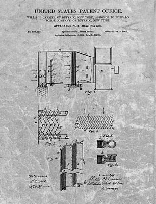Comfort Drawing - 1906 Air Conditioning Unit Patent by Dan Sproul