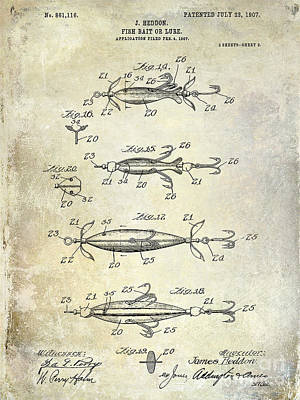 Bass Photograph - 1907 Fishing Lure Patent by Jon Neidert