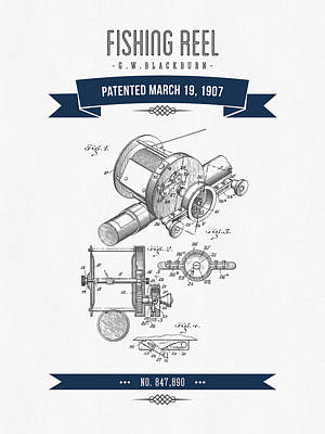 1907 Fishing Reel Patent Drawing - Navy Blue Print by Aged Pixel