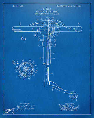1907 Henry Ford Steering Wheel Patent Blueprint Print by Nikki Marie Smith