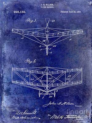 Airliners Drawing - 1909 Flying Machine Patent Drawing Blue by Jon Neidert