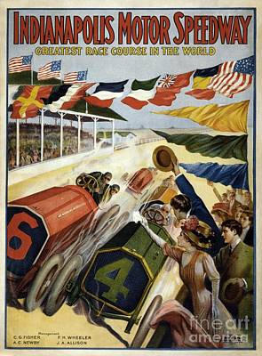 Indianapolis Painting - 1909 Poster Advertising The Indianapolis Motor Speedway by Celestial Images