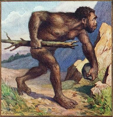 1910 Earliest Colour Neanderthal Print Print by Paul D Stewart