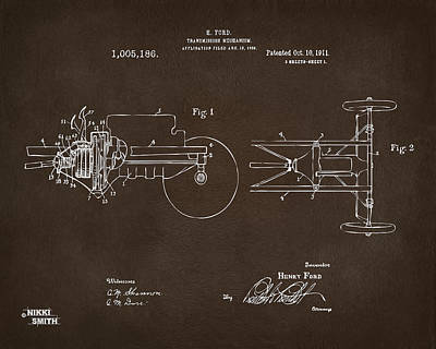 1911 Henry Ford Transmission Patent Espresso Print by Nikki Marie Smith