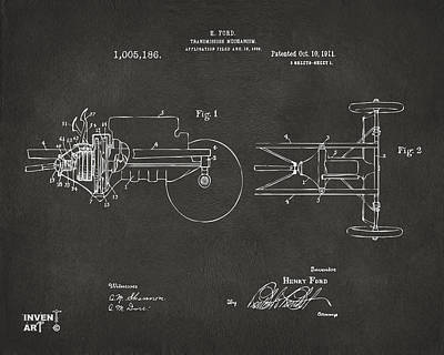 Fine Lines Digital Art - 1911 Henry Ford Transmission Patent Gray by Nikki Marie Smith