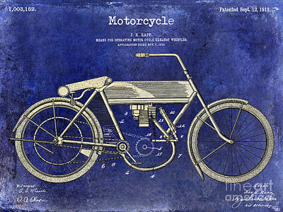 Harley Davidson Photograph - 1911 Motorcycle Patent Drawing 2 Tone Blue by Jon Neidert