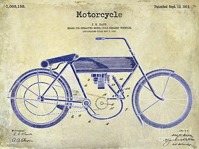 Harley Davidson Photograph - 1911 Motorcycle Patent Drawing 2 Tone  by Jon Neidert